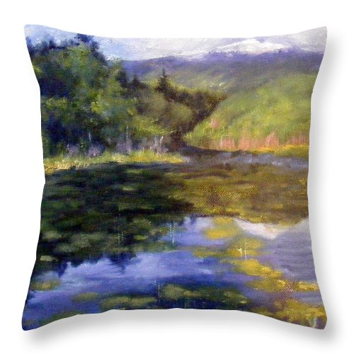 Mt. Monadnock Throw Pillow featuring the painting View Of Mt. Mondadnock by Lenore Gaudet