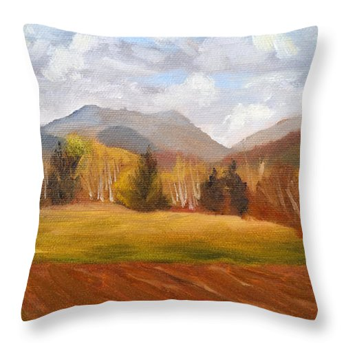 Mountains Throw Pillow featuring the painting View of Pinkham Notch from Shartner's Field by Sharon E Allen