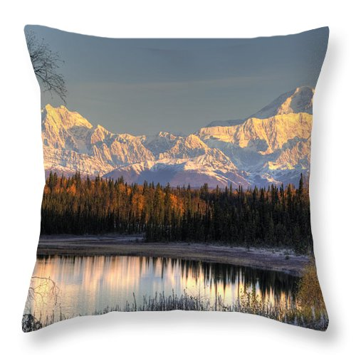 Sunset Throw Pillow featuring the photograph View Of Southside Mount Mckinley And by Michael Criss
