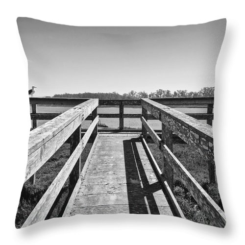 Elkhorn Slough Throw Pillow featuring the photograph View Of The Elkhorn Slough From A Platform. by Jamie Pham
