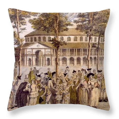 Jubilee Throw Pillow featuring the drawing View Of The Jubilee Ball, Ranelagh by English School