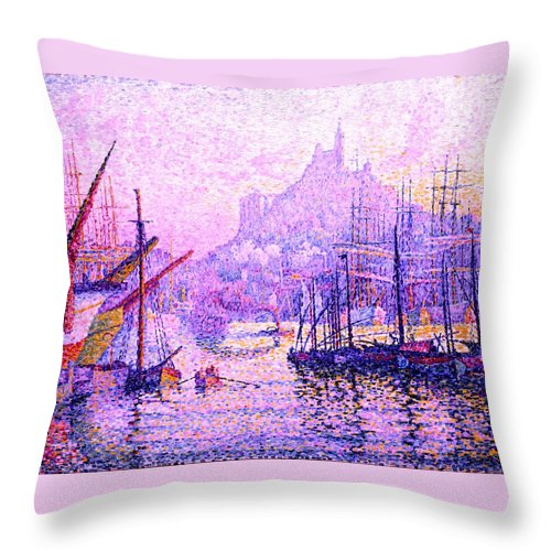 Paul Signac Post Style Pointillism Genre Cityscape Technique Oil Material Canvas Metropolitan Museum Of Art New York City New York State Usa United States America Gallery View Of Port Marseilles France French Castles And Fortresses Castle Fortress Boat Boats Ship Ships Sailboat Sailboats Post-impressionism Captain Skipper First Mate Life Guard Swim Swimming Swimmers Societe Des Artistes Independants Society Of Independent Artists Nov 1863 August Paris Throw Pillow featuring the painting View Of The Port Of Marseilles Enhanced Color Iv by Paul Signac - L Brown