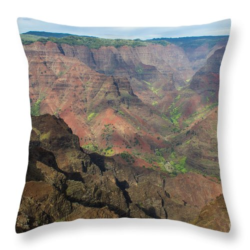 Waimea Throw Pillow featuring the photograph View Of Waimea Canyon by Suzanne Luft