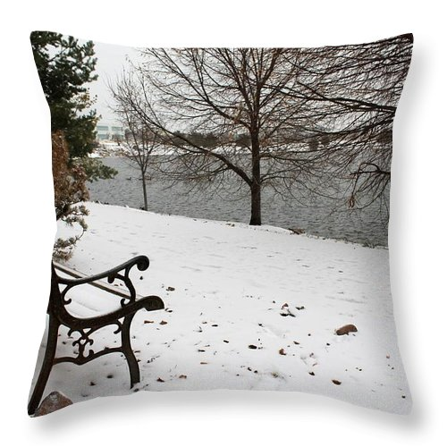 Bench Throw Pillow featuring the photograph View The Lake by Eric Martin