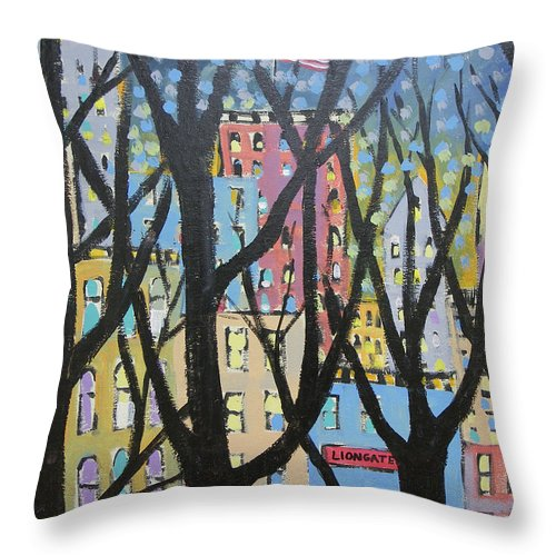 New York Throw Pillow featuring the painting View Through The Park by Ken Blacktop Gentle