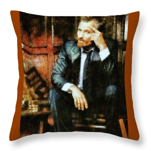 Viggo Mortensen Throw Pillow featuring the painting Viggo Posed In A Chair by Janice MacLellan