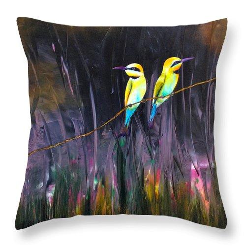 Birds Throw Pillow featuring the painting Vigilando by Thelma Zambrano