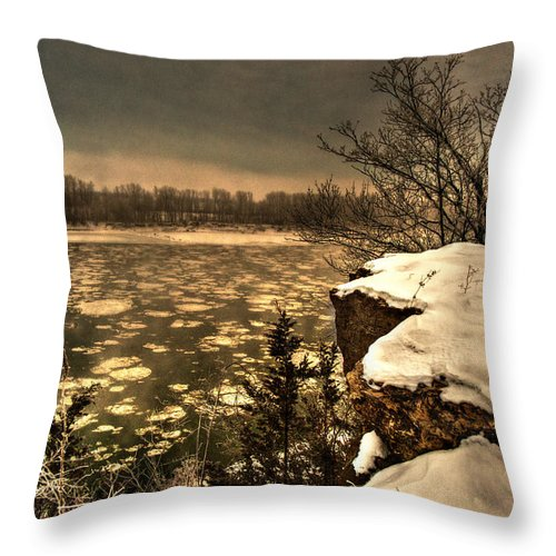 Village Bluff Throw Pillow featuring the digital art Village Bluff by William Fields