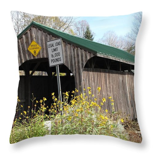 Covered Bridge Throw Pillow featuring the photograph Village Bridge Waterville Vermont by Barbara McDevitt