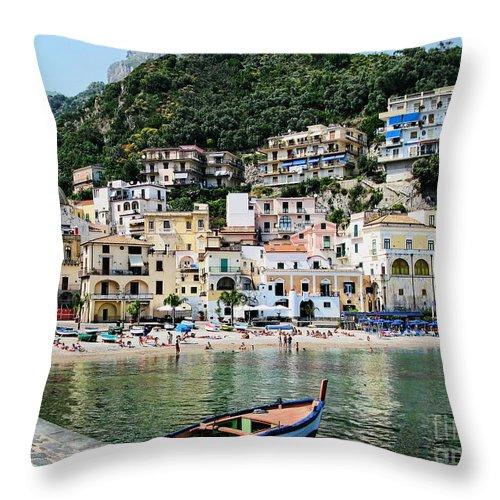 Cetara Throw Pillow featuring the photograph Village Of Cetara by Jennie Breeze