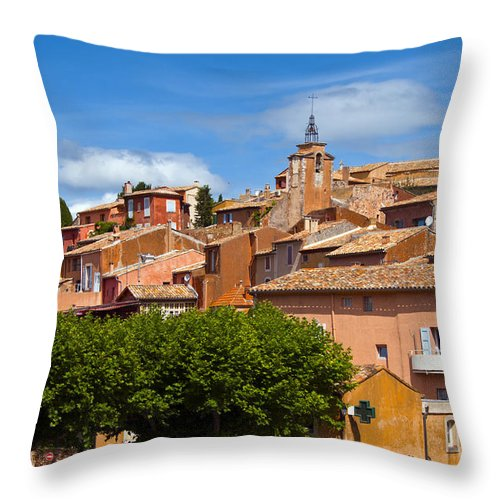Roussillon France Provence Window Windows Shutter Shutters City Cities Cityscape Cityscapes Building Buildings Structures Architecture House Houses Throw Pillow featuring the photograph Village View by Bob Phillips
