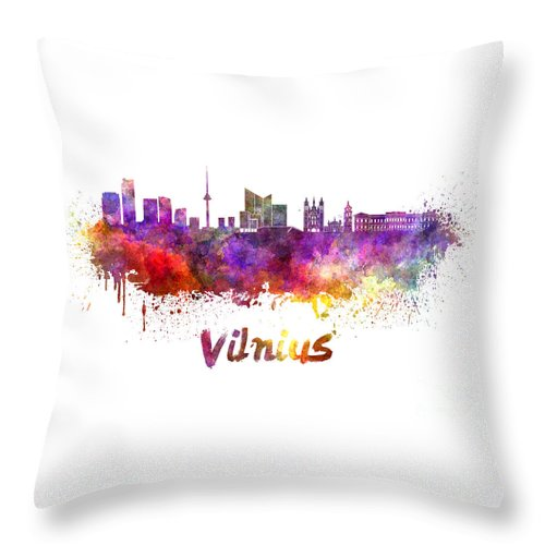 Vilnius Throw Pillow featuring the painting Vilnius Skyline In Watercolor by Pablo Romero
