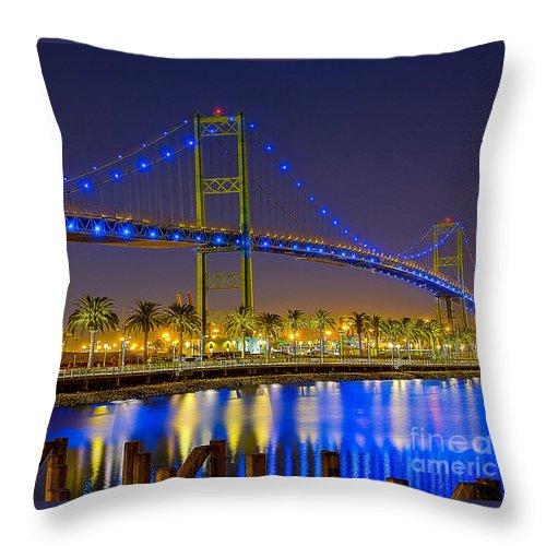 Bridge Throw Pillow featuring the photograph Vincent Thomas Bridge - Nightside by Jim Carrell