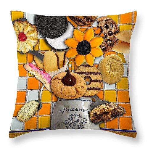 Vincent's Sunflower Cookie Jar Throw Pillow featuring the drawing Vincent's Sunflower Cookie Jar by Jose A Gonzalez Jr