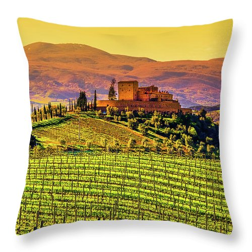 Scenics Throw Pillow featuring the photograph Vineyard In Tuscany by Deimagine