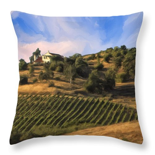 Vineyard Throw Pillow featuring the painting Vineyard Near Avila Beach by Dominic Piperata