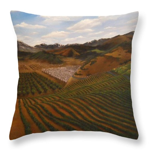 Vineyard Throw Pillow featuring the painting Vineyard by Travis Day