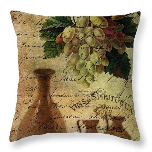 Vins Spiritueux Throw Pillow featuring the digital art Vins Spiritueux Nectar Of The Gods by Sarah Vernon