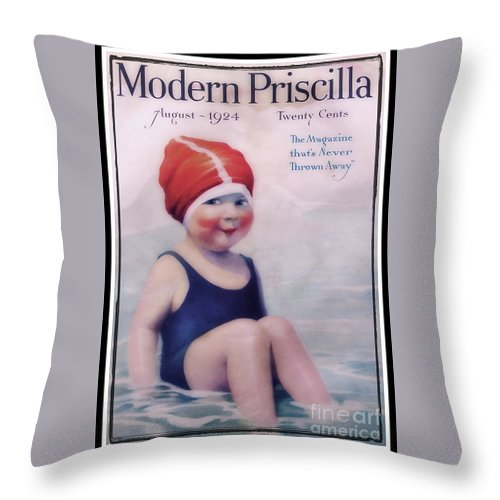 Modern Throw Pillow featuring the photograph Vintage 1924 - Modern Priscilla by Ella Kaye Dickey
