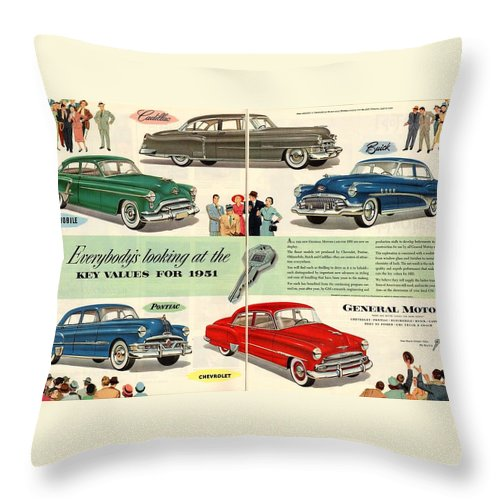 Vintage Car Throw Pillow featuring the digital art Vintage 1951 Advert General Motors Car Gm by Georgia Fowler