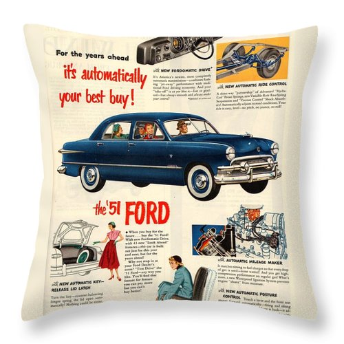 Vintage Car Throw Pillow featuring the digital art Vintage 1951 Ford Car Advert by Georgia Fowler