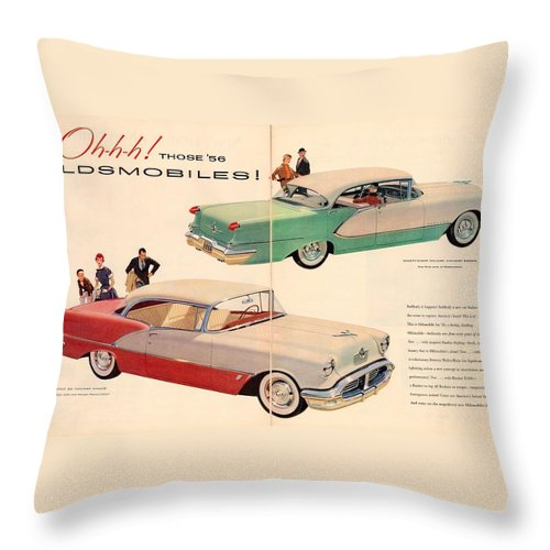 Vintage Car Throw Pillow featuring the digital art Vintage 1956 Oldsmobile Car Advert by Georgia Fowler