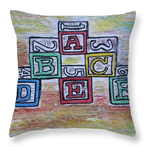 Vintage Throw Pillow featuring the painting Vintage Abc Wooden Blocks by Kathy Marrs Chandler