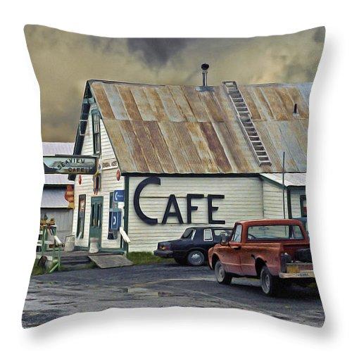 Alaska Throw Pillow featuring the photograph Vintage Alaska Cafe by Ron Day