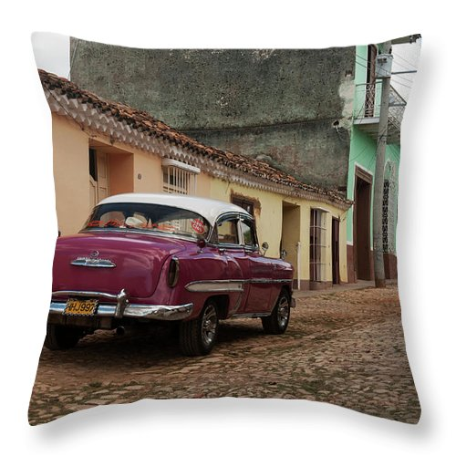Latin America Throw Pillow featuring the photograph Vintage American Cars In Cuba by John Elk Iii