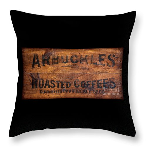 Coffee Throw Pillow featuring the photograph Vintage Arbuckles Roasted Coffee Sign by John Stephens