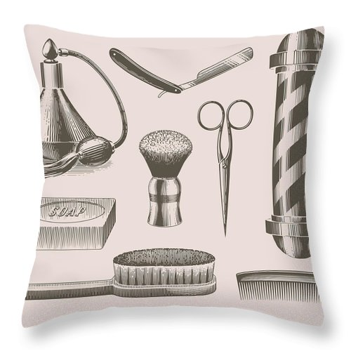 English Culture Throw Pillow featuring the digital art Vintage Barbershop Objects by Darumo