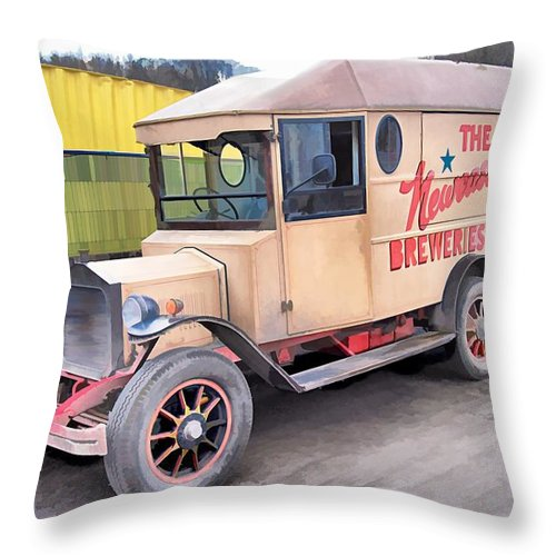 Beamish Throw Pillow featuring the photograph Vintage Brewery Van by John Lynch