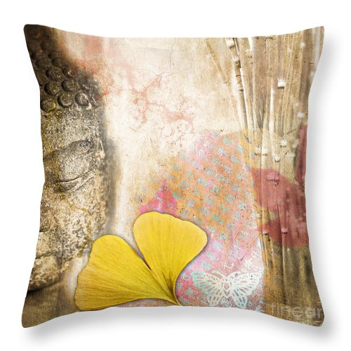 Buddha Throw Pillow featuring the photograph Vintage Buddha And Ginkgo by Delphimages Photo Creations