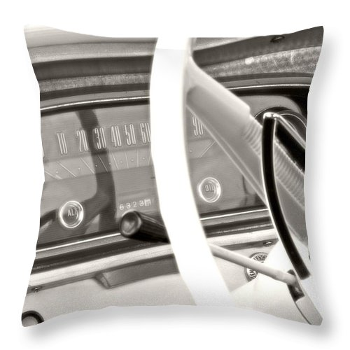 Car Throw Pillow featuring the photograph Vintage Car Dashboard by Heather Allen