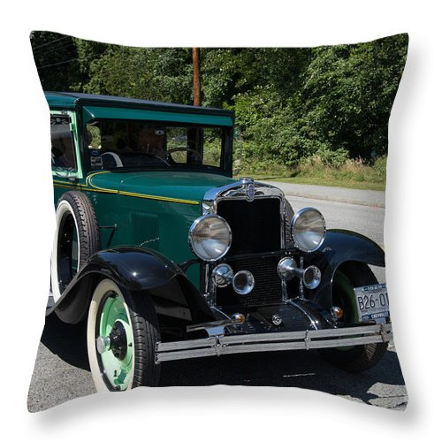 Bowen Island Throw Pillow featuring the digital art Vintage Cars Green Chevrolet by Carol Ailles