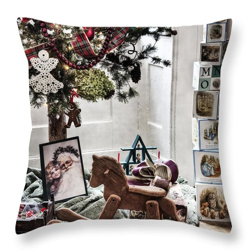 Room; Toys; Christmas; Tree; Decorations; Gifts; Seasonal; Wood; Floor; Rocking Horse; Blocks; Vintage; Old; Presents; Santa Claus; Room; Inside; Indoors; House; Home; Still Life Throw Pillow featuring the photograph Vintage Christmas by Margie Hurwich