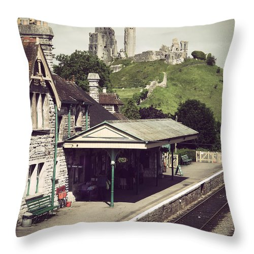 Corfe Throw Pillow featuring the photograph Vintage Corfe Castle by Linsey Williams