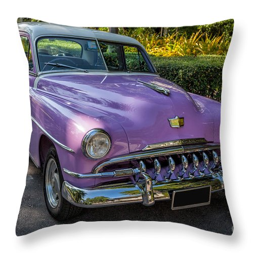 American Throw Pillow featuring the photograph Vintage Desoto by Adrian Evans