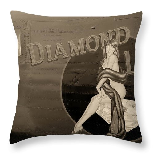 Aircraft Throw Pillow featuring the photograph Vintage Diamon Lil B-24 Bomber Aircraft by Amy McDaniel
