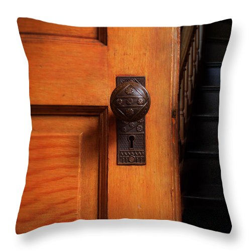 Door Throw Pillow featuring the photograph Vintage Door And Stairs by Jill Battaglia