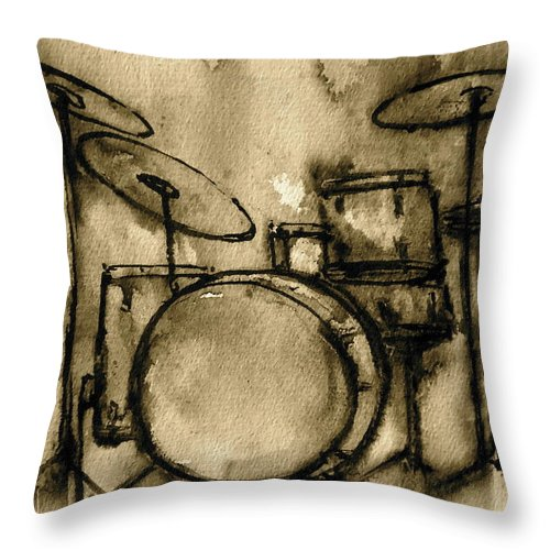 Drums Throw Pillow featuring the painting Vintage Drums by Pete Maier