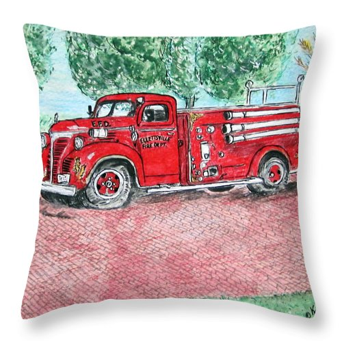 Firetruck Throw Pillow featuring the painting Vintage Firetruck by Kathy Marrs Chandler