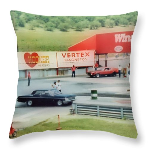 Fords Throw Pillow featuring the photograph Vintage Ford Drag Racing by Thomas MacPherson Jr