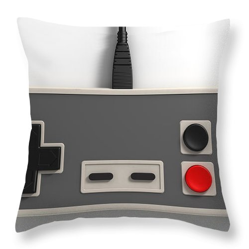 Controller Throw Pillow featuring the digital art Vintage Gaming by Allan Swart