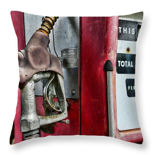 Paul Ward Throw Pillow featuring the photograph Vintage Gas Pump by Paul Ward