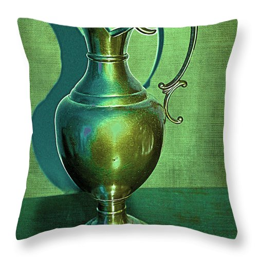 Vintage Throw Pillow featuring the photograph Vintage Green Pewter Pitcher by Nina Silver