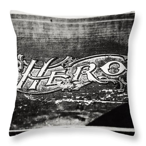 Hero Throw Pillow featuring the photograph Vintage Hero Sign In Black And White by Lisa Russo