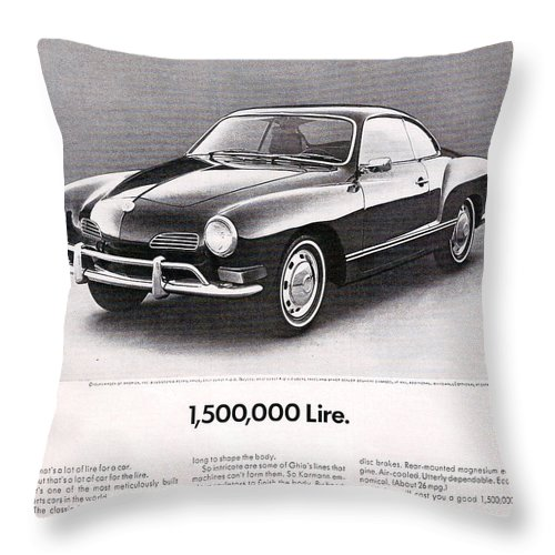 Karmann Ghia Throw Pillow featuring the digital art Vintage Karmann Ghia Advert by Georgia Fowler