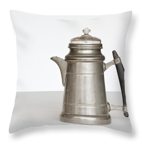 Antique Throw Pillow featuring the photograph Vintage Pewter Coffee Pot by David and Carol Kelly