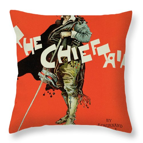 Advert Throw Pillow featuring the drawing Vintage Poster For The Chieftain At The Savoy by Dudley Hardy